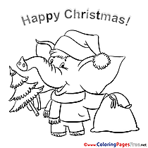 Elephant Coloring Pages Christmas