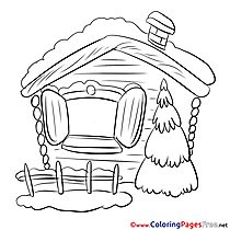 Fence House free Colouring Page Christmas