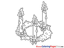 Flame Candles download Christmas Coloring Pages