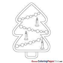 Flame Candles Tree download Christmas Coloring Pages