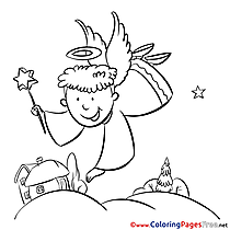Fly Angel Colouring Sheet download Christmas