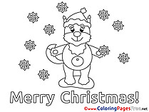 Fox Christmas Coloring Pages free