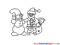 Friends Christmas Colouring Sheet free