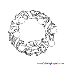 Garland Colouring Page Christmas free