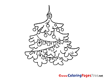 Garland Kids Christmas Coloring Page