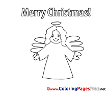 Girl Angel Kids Christmas Coloring Page