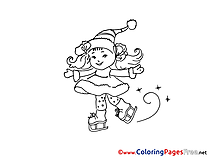 Girl Colouring Page Christmas free