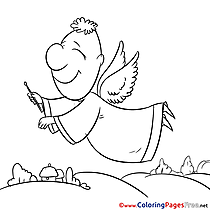 Happiness Angel printable Christmas Coloring Sheets