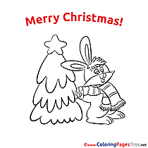 Hare Christmas Coloring Pages free