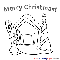 Hare Christmas free Coloring Pages