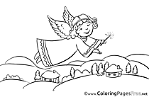 House Angel Coloring Pages Christmas