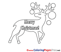 Image Deer Christmas free Coloring Pages