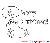 Image Sock Colouring Page Christmas free