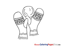 Mittens Christmas Coloring Pages free