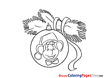 Monkey printable Coloring Pages Christmas