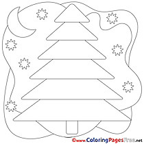 Moon Night for Kids Christmas Colouring Page
