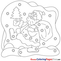 New Year Santa Claus Children Christmas Colouring Page