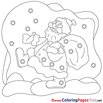 New Year Santa Claus Christmas Colouring Sheet free