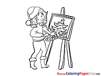 Painter for Kids Christmas Colouring Page