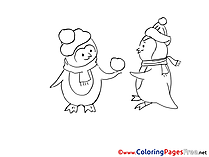 Penguins printable Christmas Coloring Sheets