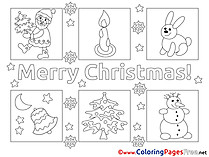 Picture Rabbit Snowman Coloring Sheets Christmas free