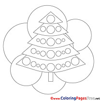 Picture Tree Christmas free Coloring Pages