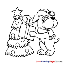 Puppy Colouring Sheet download Christmas