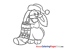 Rabbit Children Christmas Colouring Page