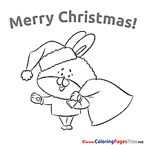 Rabbit for Kids Christmas Colouring Page