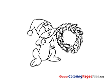 Rabbit free Christmas Coloring Sheets