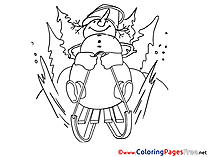 Sleds Coloring Pages Christmas