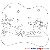 Sleds free Christmas Coloring Sheets