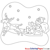 Snow Deer Santa Claus Kids Christmas Coloring Pages