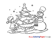Snowman Christmas free Coloring Pages