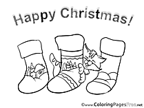 Socks Colouring Sheet download Christmas