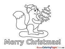 Squirrel Colouring Sheet download Christmas