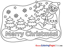 Stars Santa Claus download Christmas Coloring Pages