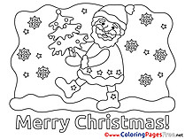 Stars Tree Santa Claus Kids Christmas Coloring Pages