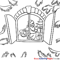 Window Santa Claus Children Christmas Colouring Page