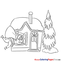 Window Santa Claus Christmas Colouring Sheet free