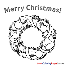 Wreath Children Christmas Colouring Page