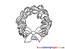 Wreath Christmas Colouring Sheet free