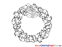 Wreath Coloring Pages Christmas