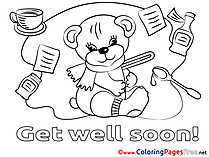 Bear Colouring Page Get well soon