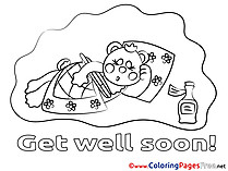 Bear Kids Get well soon Coloring Pages