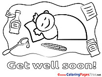 Boy free Colouring Page Get well soon