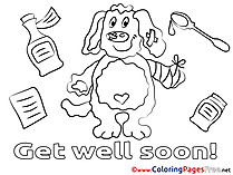 Dog for Kids Get well soon Colouring Page