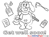 Dog Kids Get well soon Coloring Pages