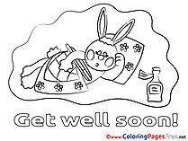 Hare Colouring Sheet Get well soon