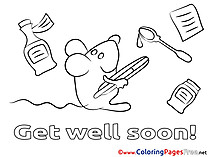 Mouse Coloring Sheets Get well soon free